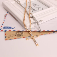 Fast And Furious Masculine Mens Religious Cross Pendant Necklace With Silver Chain