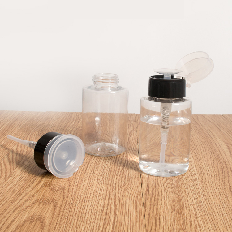160ml cosmetic water bottle with press, PET/PP material can be used to separate makeup water, nail remover
