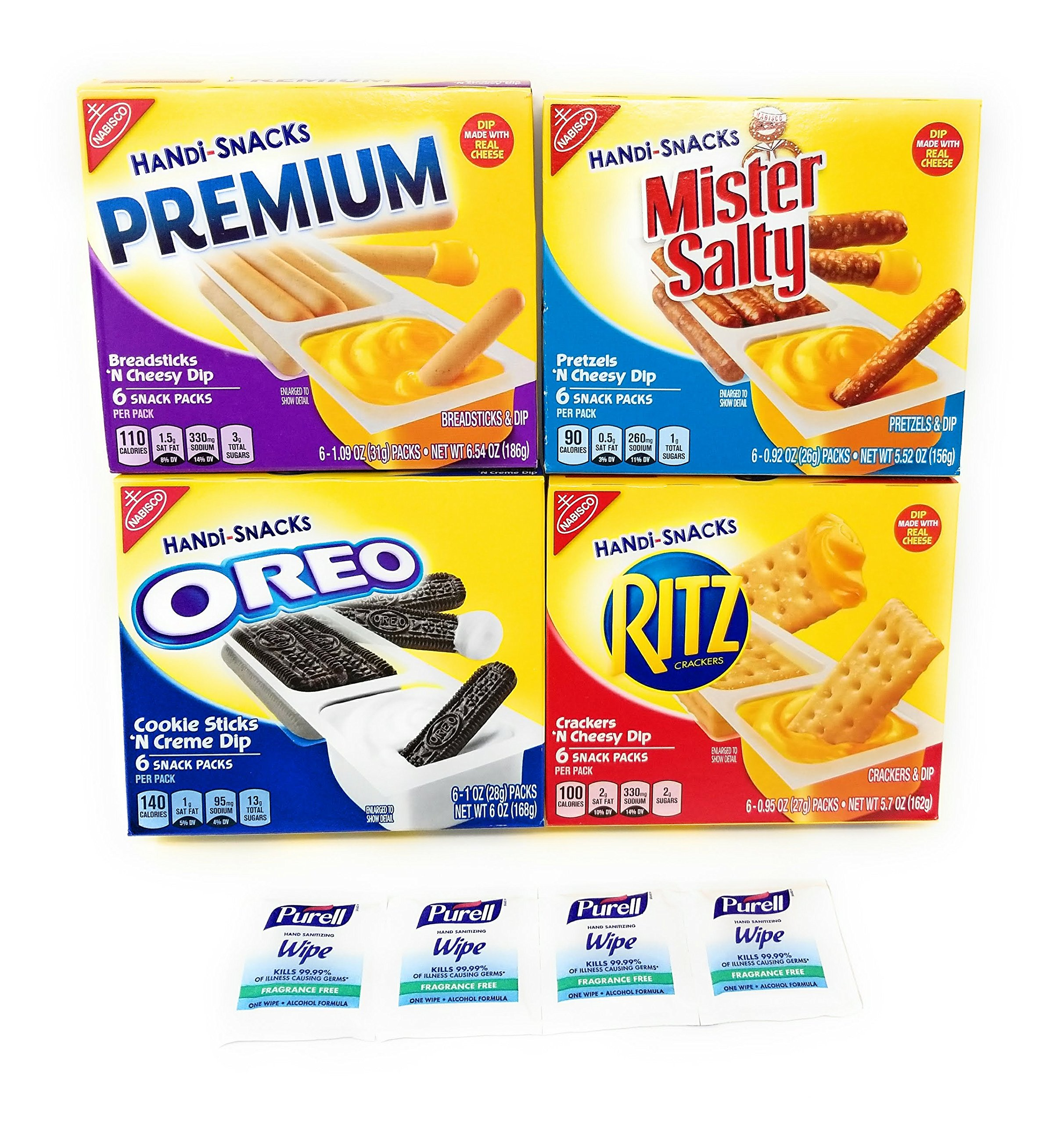 Kraft Handi-Snacks -Ritz, Oreo, Mister Salty, Premium - 4 Pack Variety With Purell Wipes