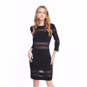Polyester&Spandex Transparent Round Neck Pencil Dress