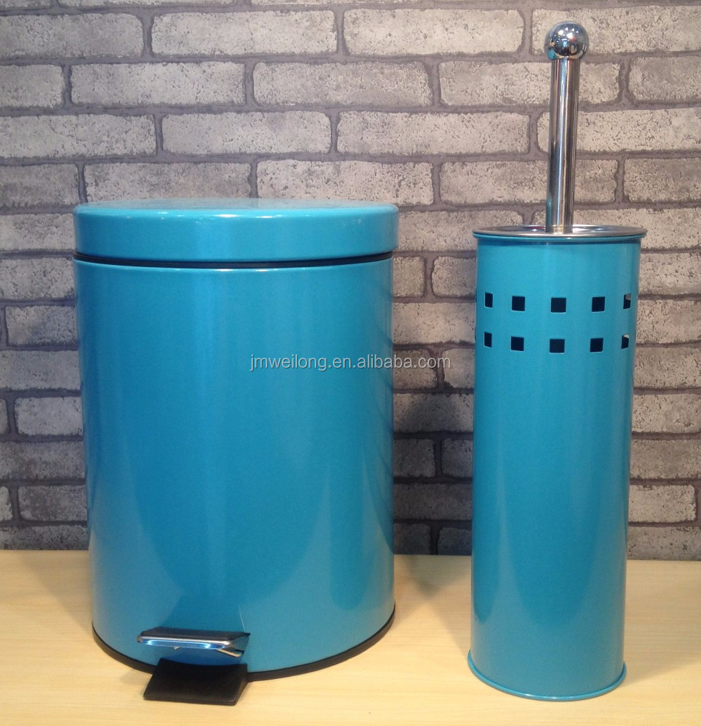 Round Large Capacity Cream Galvanized Metal Garbage Pedal Bin Trash ...