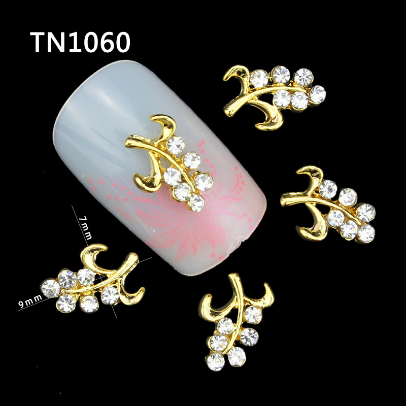 10 Pcs Glitter Gold Branch 3D Clear Rhinestones For Nail Art Decorations On Gel Polish DIY