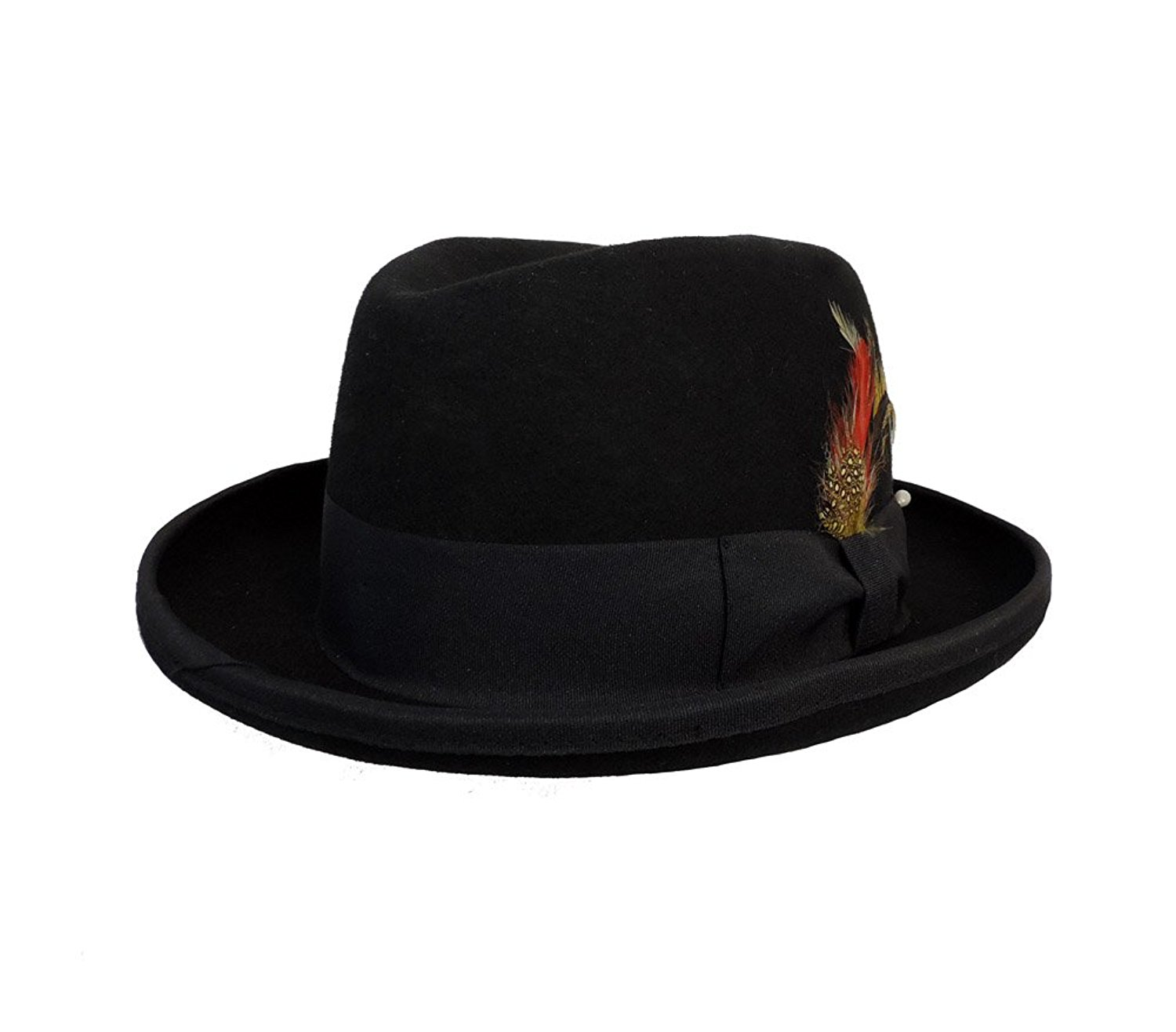 9c76b7429b0 Get Quotations · Men s Wool Felt Godfather Fedora Hat Black