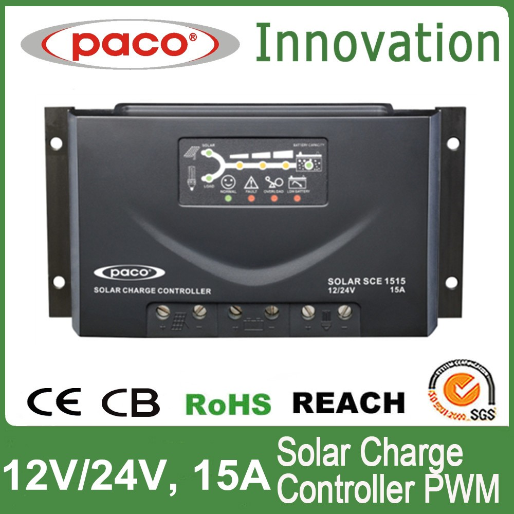 Solar charge controller circuit with LED display 15A,12V and 24V,with CE,CB,RoHS certificate