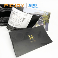 22 pages 420*236mm custom Black color metal ring binding wiro-o binding home brochure printing in shanghai