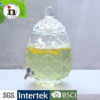 Most popular pineapple shaped glass beverage dispenser with metal stand