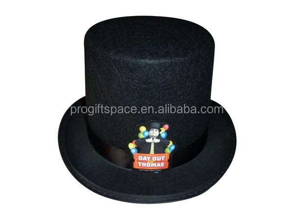 f68345aa6a5d7 2018 new fashion products custom black wool felt slash top hat for sale  with ribbon day