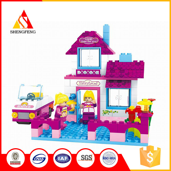 Mini cute building block toys modern house for villa