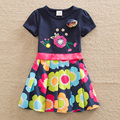 2016 Retail BABY Girl Clothes short Sleeve Girls Dress Bow Kids pretty Dresses Full A line