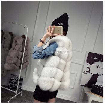 Fur factory wholesale fashion white fox/rabbit/mink fur women's middle vest