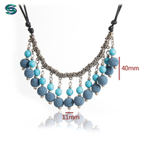 Fashionable Wax Cord Volcanic Rock Stone Blue Gourd Beaded Jewelry Necklace