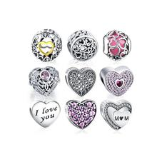 LZESHINE Heart Shape 925 Sterling Silver Loose Beads For Jewelry Making
