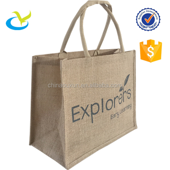 Fashion printed laminated natural jute bag