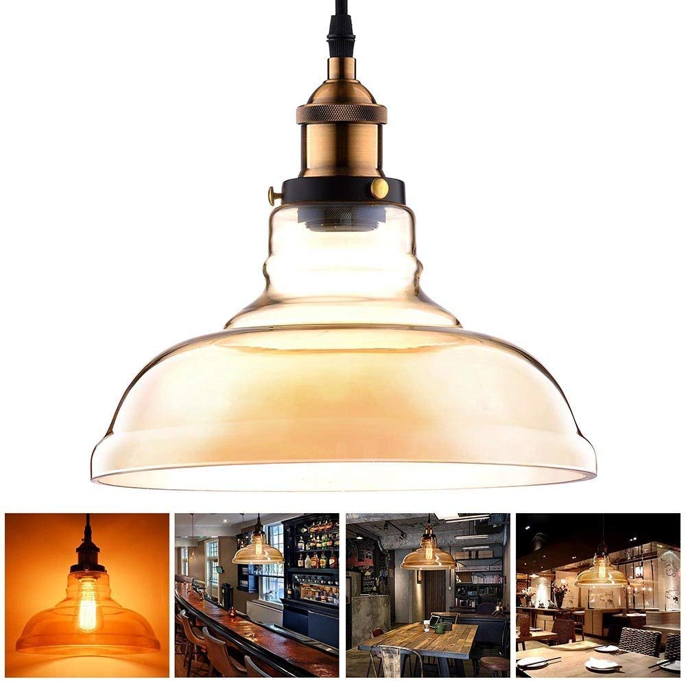 "11"" Round Shaped Amber Glass Vintage Pendant Light Fixture w/ Industrial Copper Hanging Ceiling Lamp for Décor Lighting Indoor Home Kitchen"