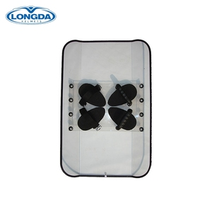 Police emergency protective equipment transparent edge covered anti riot shield of PC material