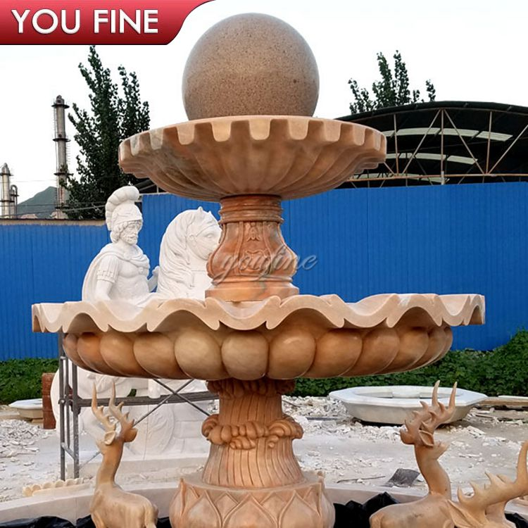 Outdoor Garden  Marble Water Fountain with Animals Sculpture for Sale