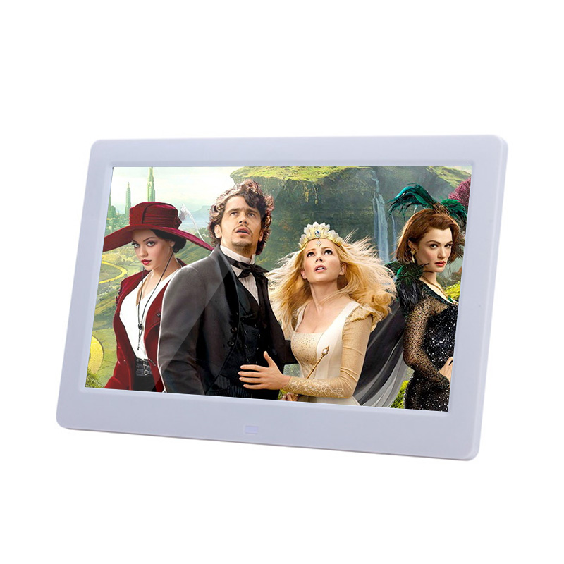 CE ROHS small white / black 10 inch hd advertising digital photo frame player