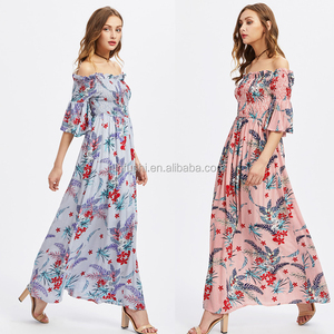 high fashion off shoulder floral print woman ruffle elastic tight dress