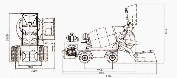 diagram of concrete cement mixer truck   mixer truck size