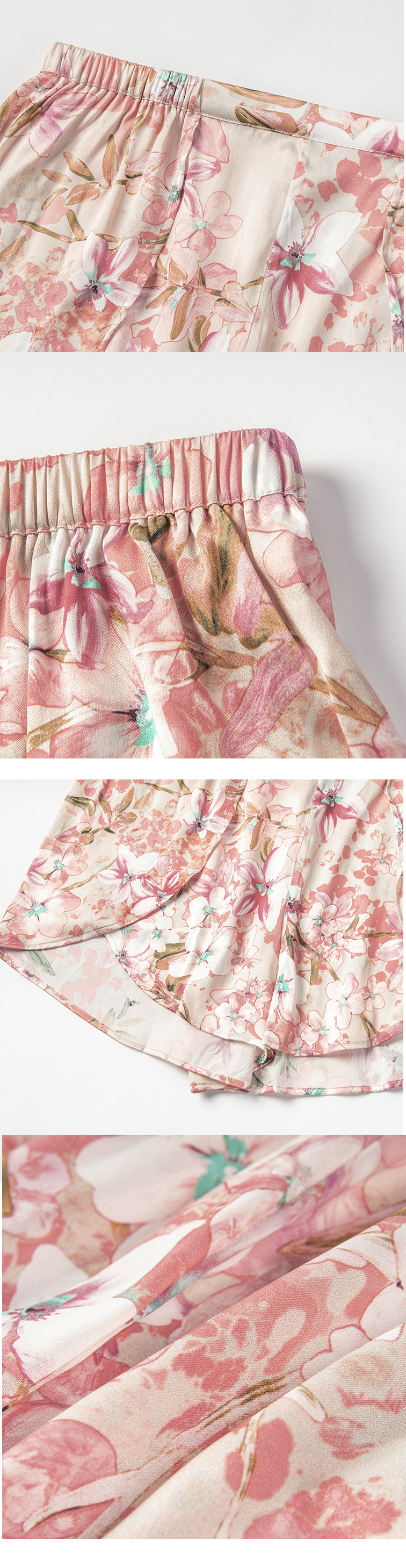 Favourable price silk floral sleepwear beautiful nightgown pretty pajamas