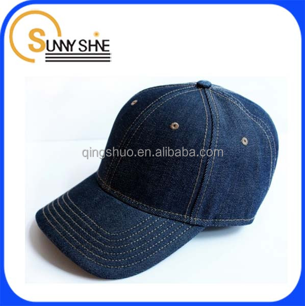 Custom cheap 100 cotton American denim baseball hat no logo