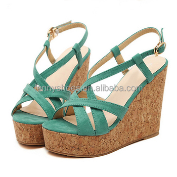 084ddacef2d Womens wood sole high heel wedge sandal strappy sandals with platform