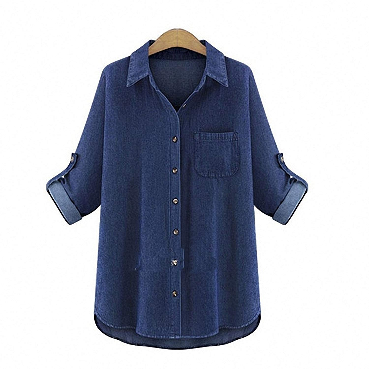 a05d9190d3b Get Quotations · Denim Shirt Female Plus Size Long Sleeve Women s Jeans  Shirt Slim Ladies Tops Blusas