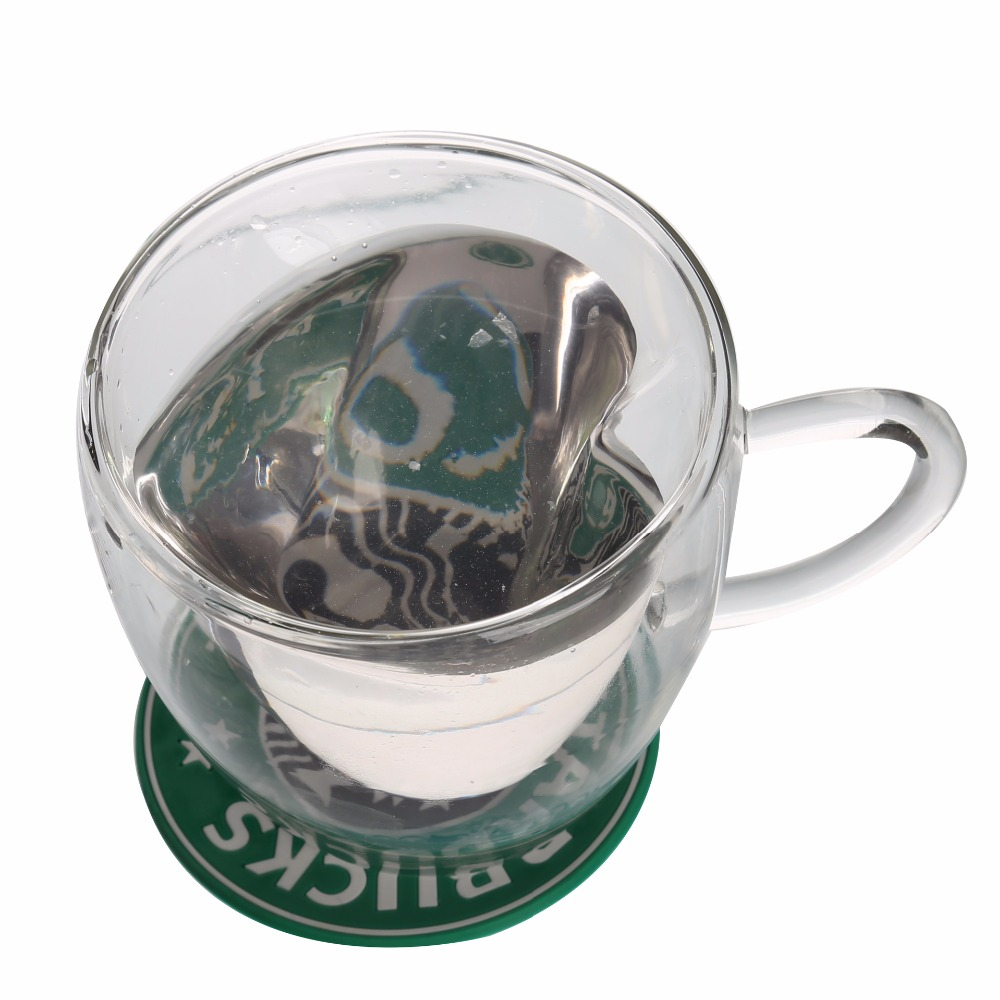 Wholesale Heart shaped unique desigh Customized Glass double wall cup