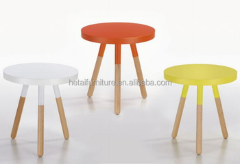 Modern Bright Color 3 Legs Round Wooden Side Table, Small Round Coffee Table  Side Table