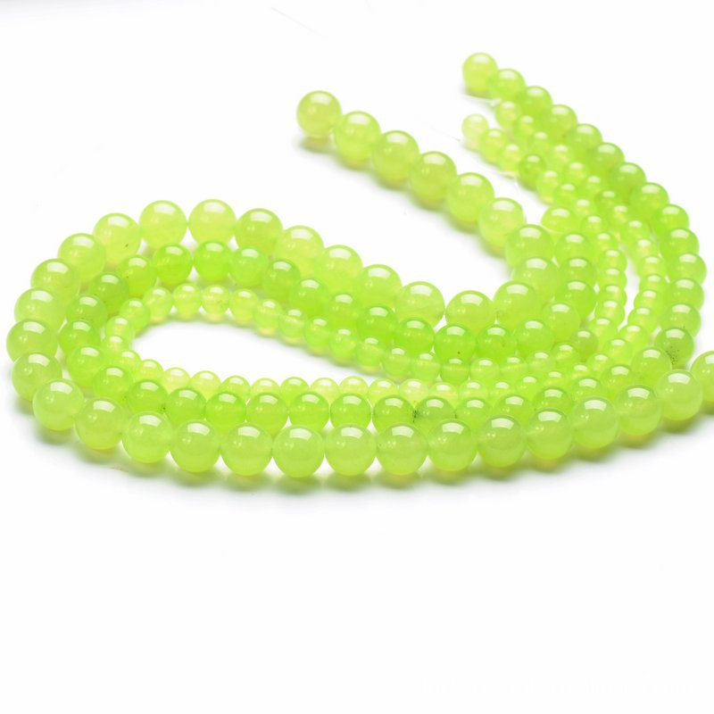 Wholesale artificial olive green jade round beads jewelry