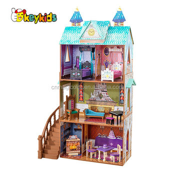 2018 New hottest DIY large wooden kids doll house with furniture W06A266