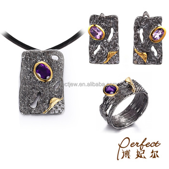 Fashion Amethyst Stone 925 Sterling Silver Jewelry Sets for Women
