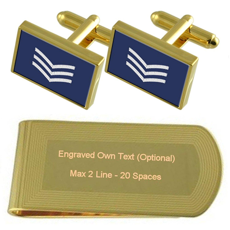 Army Insignia Rank Lieutenant Gold-tone Cufflinks Money Clip Engraved Gift Set