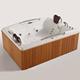 HS-B1578T freestanding solid surface acrylic wooden whirlpool bathtub