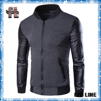 mens black color block leather sleeve jacket ribbed stand collar thick outwear jacket for male hoodies with zipper pocket sleeve