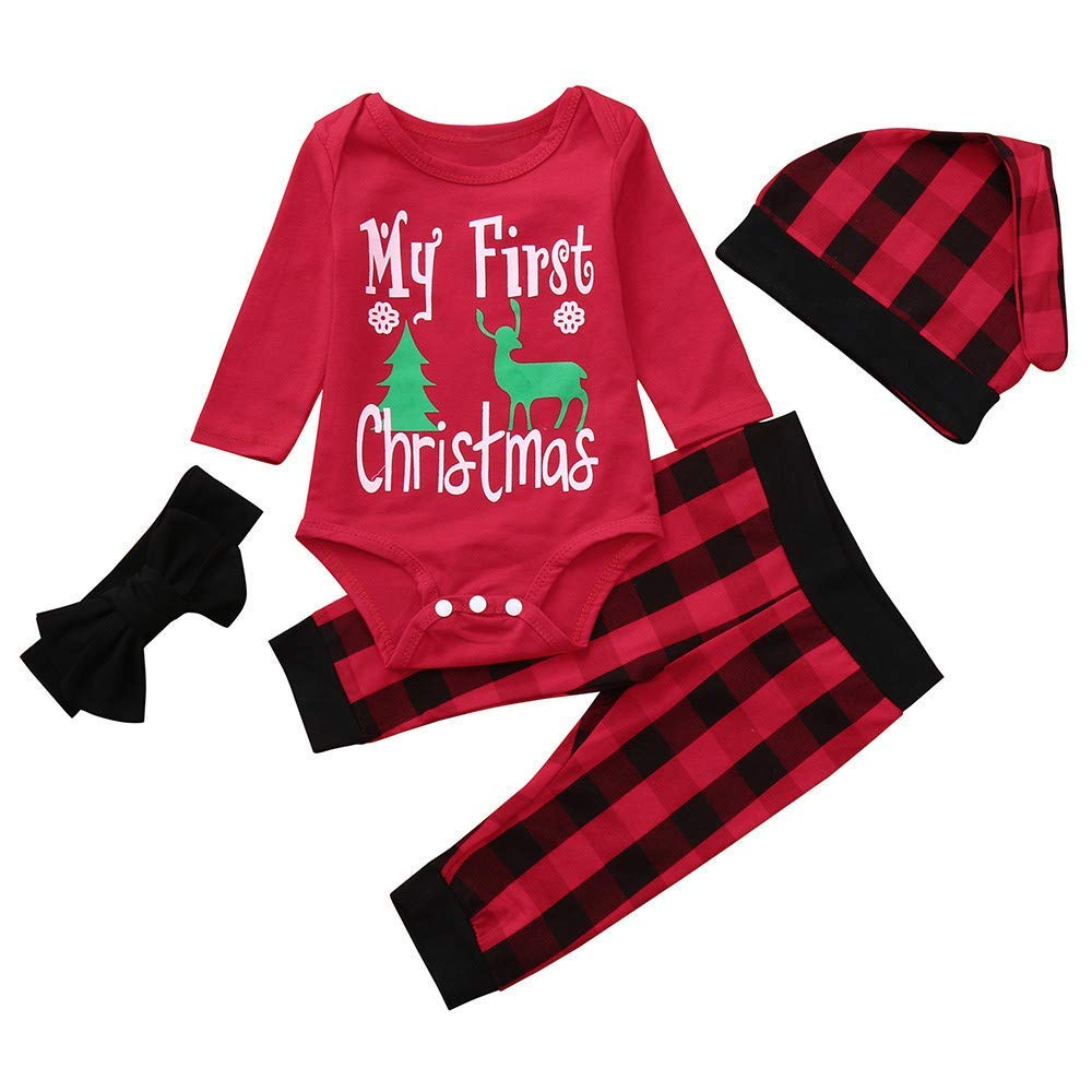 e567ffbec157 Get Quotations · Christmas Unisex Baby Clothes Set Long Sleeve Letter Print  Jumpsuit Romper Pants Outfit (6-