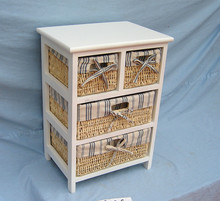 Home storage furniture,wooden cabinet with rattan/wicker/rush straw baskets,drawers cabinet