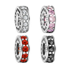 Vnistar Cubic Zirconias Spacer Charm 925 Sterling Silver DIY Bead Charms For European Charm Bracelets and Necklaces