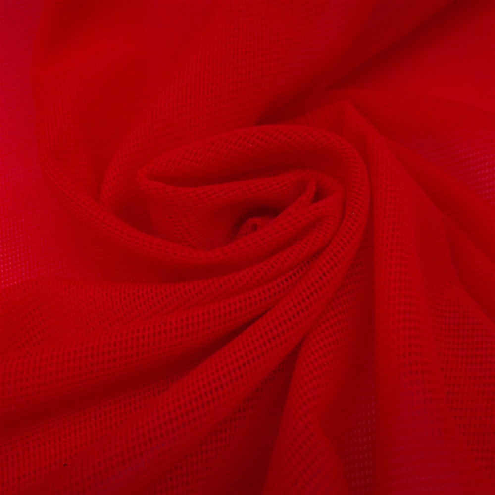 "Solid Power Mesh Fabric Nylon Spandex 60"" Wide Stretch Sold BTY Many Colors (Red, 1 YARD)"