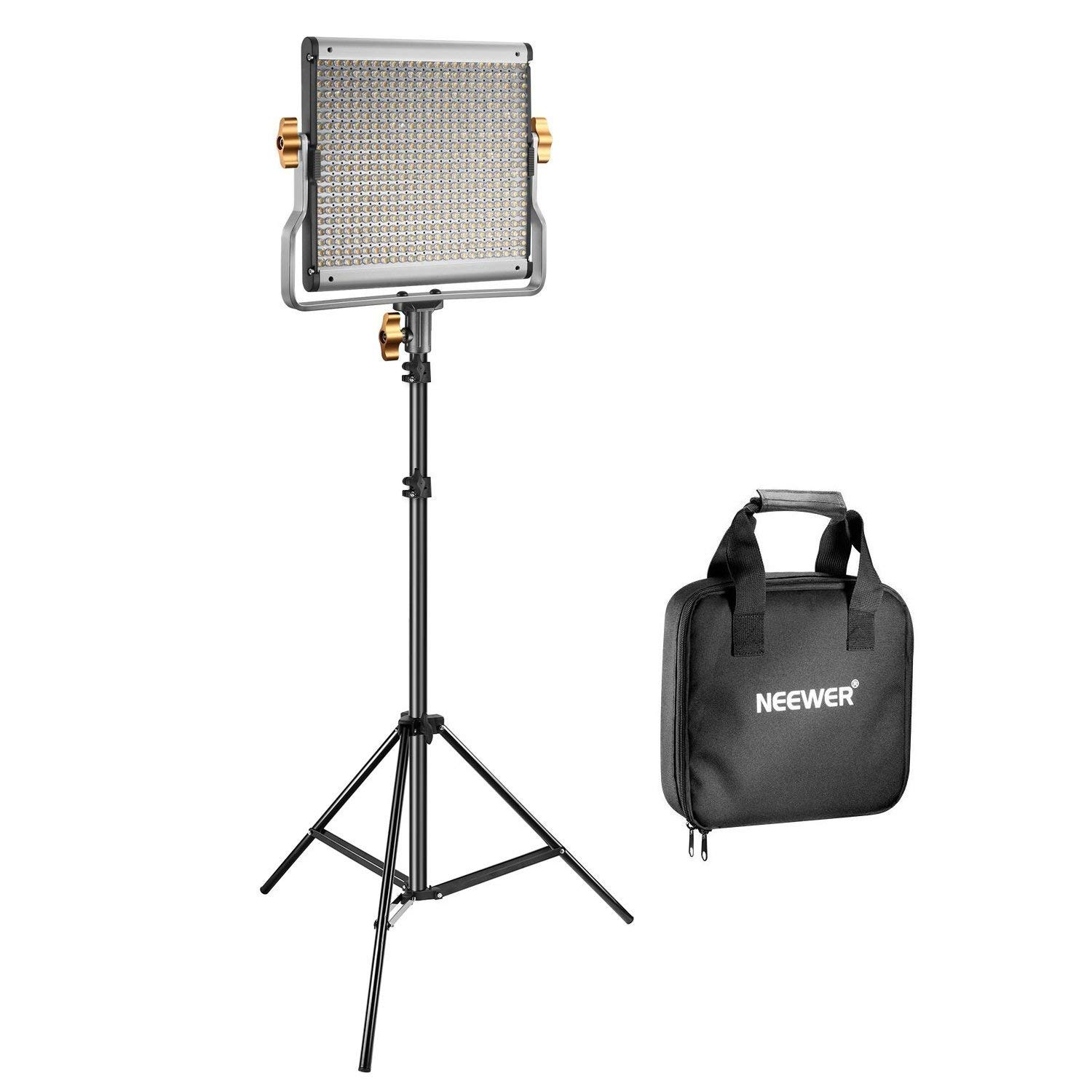 Neewer 480 LED Video Light and Stand Lighting Kit - Dimmable Bi-color LED Panel with U Bracket (3200-5600K,CRI 96+) and 75-inch Light Stand for Photo Studio Portrait,YouTube Video Photography