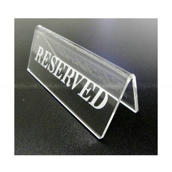 Etching Tabletop Clear Acrylic Reserved SignsAcrylic Table Tent - Table tent signs