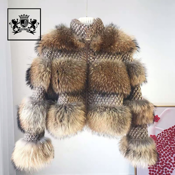 Wholesale Fashion Style Luxury Natural Fur Coat Fluffy New Thick Real Raccoon Fur Coat Women