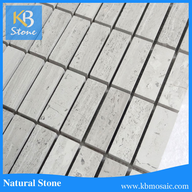 KB stone Polished white blends wooden grey marble mosaic, tiles mosaic