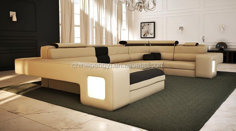 High grade sofa furniture American style big living room leather sofa PY-S783