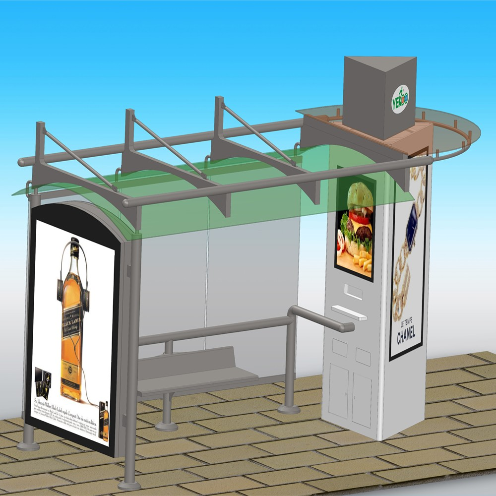 Customized solar bus shelter station with USB charger bus stop advertising bus stop