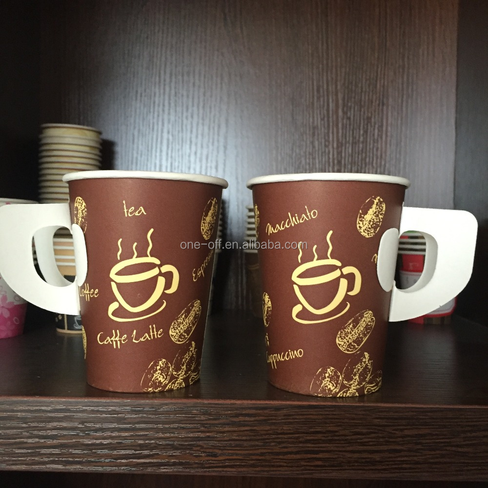 October 9 oz paper cup with handle factory new design products