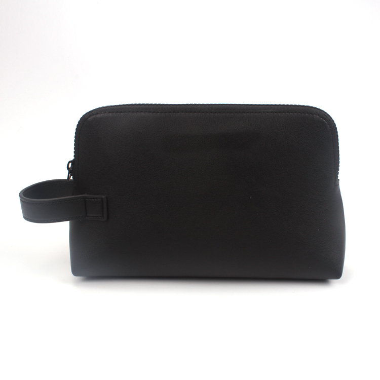 Luxury Custom Black PU Cosmetic Bag Makeup Bag Private Label Travel Toiletry Bag