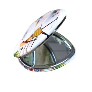 Folding pocket mirror PU leather metal compact mirror with custom design