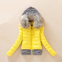 slim fit fashionable womens winter polyester padding jacket with knit hat