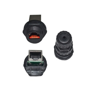 8 pin rj45 connector rj45 panel mount waterproof connector with dust cap